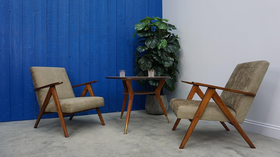 Model B 310 Var Mid Century Easy Chairs in Dark Cappuccino Velvet, 1960 Set of 2