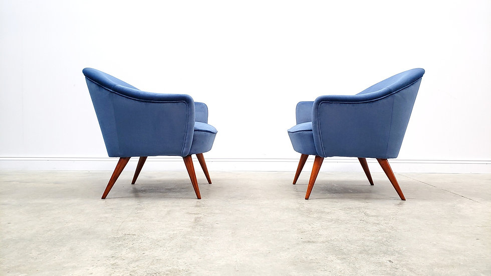 Mid Century Cocktail Chairs in Blue Velvet, France 1950