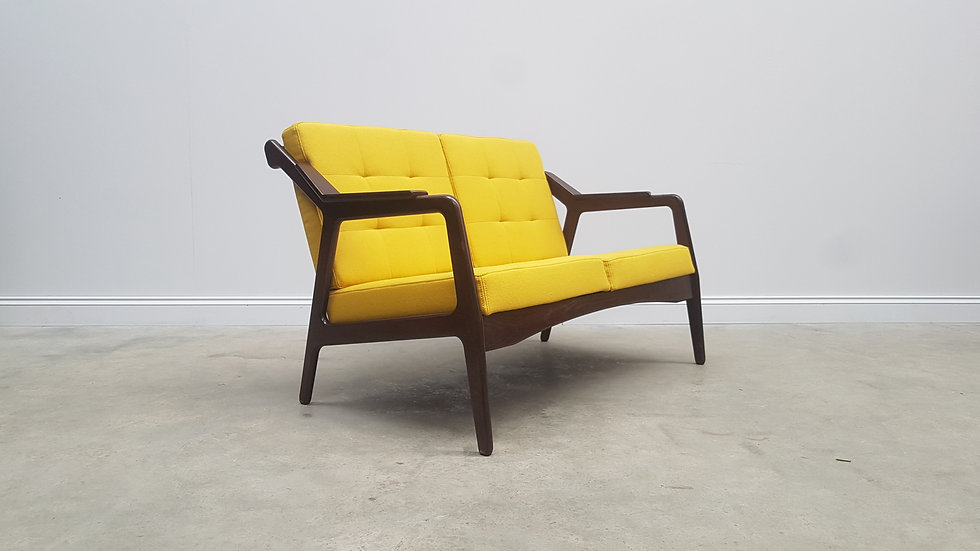 Rib Back Two Seat Sofa, Couch in Yellow 100% Wool