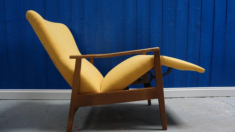 Century Danish Recliner Armchair in Yellow, from 1960's