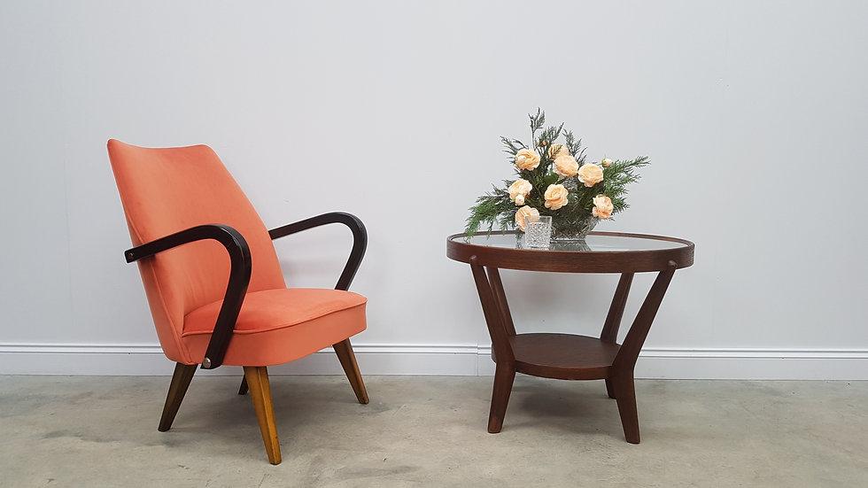Mid Century Easy Chair in Orange Velvet, 1960 France