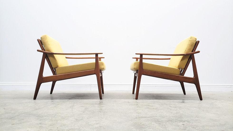 1960's Danish Loungers Club Chairs in Yellow Tweed