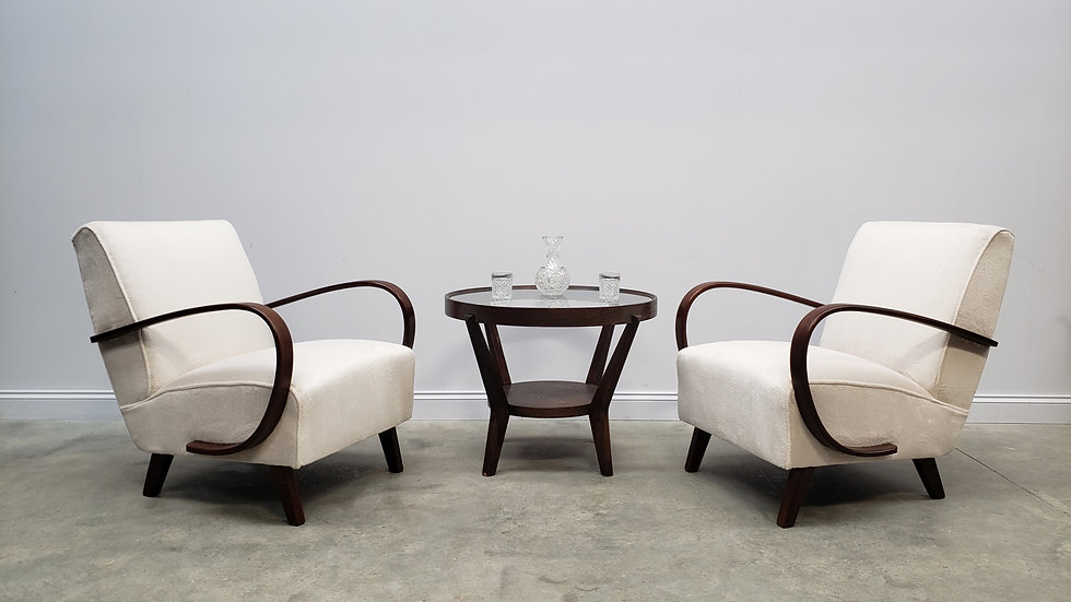 1930 Jindrich Halabala Bentwood Armchairs in Luxury Long Hair Ivory Upholstery
