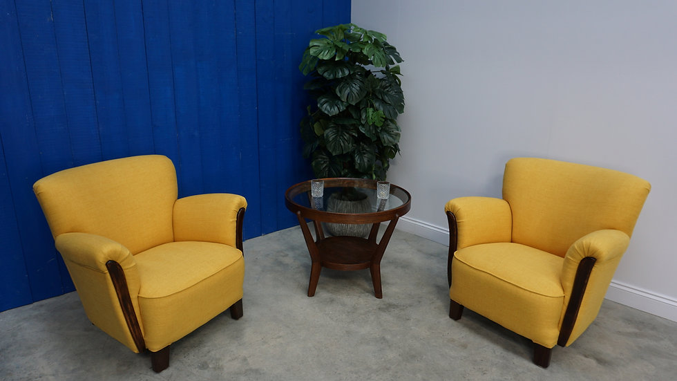 1960's Art Deco Loungers in Yellow, Set of 2 Mid Century Armchairs