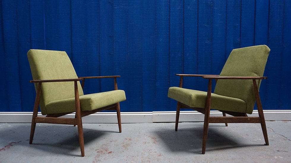 H. Lis Mid Century Armchairs in Green from 1970's, 1 of 2