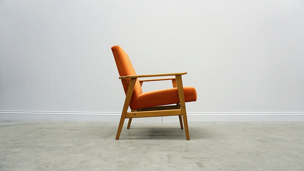 Mid Century Armchair in Orange Velvet, 1960