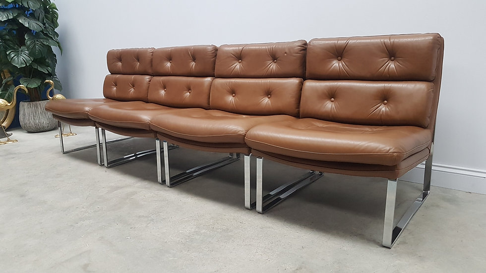 Minimalist German Leather & Chrome Modular Sofa, 1970