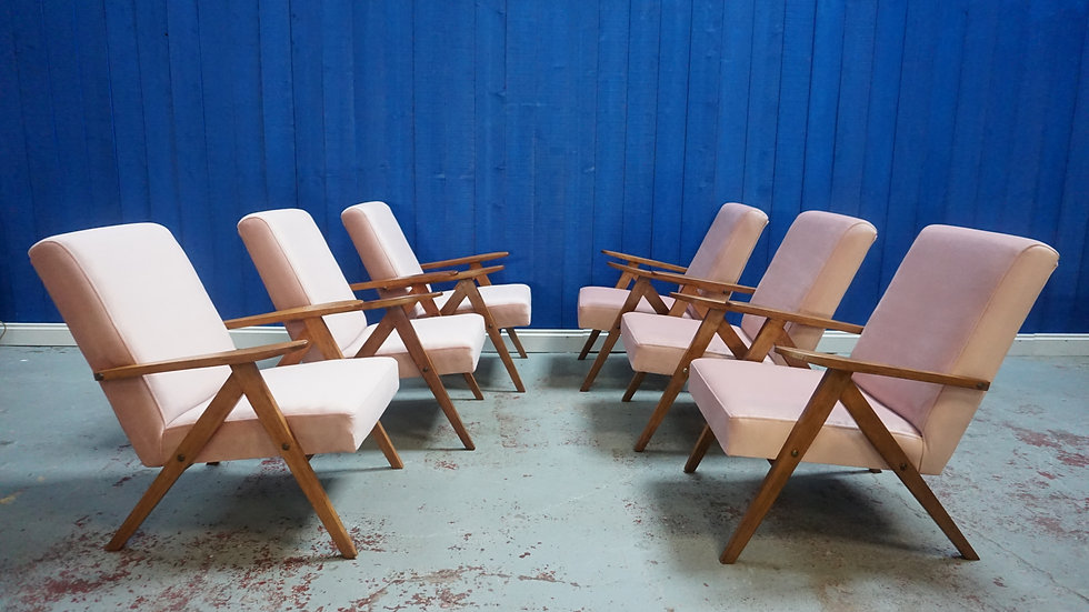Mid Century Lounge Chairs in Champagne Pink Velvet, 1 of 8