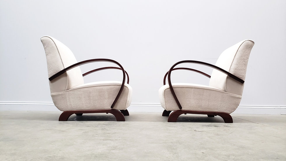 1930 Jindrich Halabala Bentwood Armchairs in Luxury Long Hair Fabric