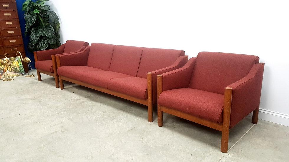 Danish Teak Living Room Set in Burgundy 100% Wool