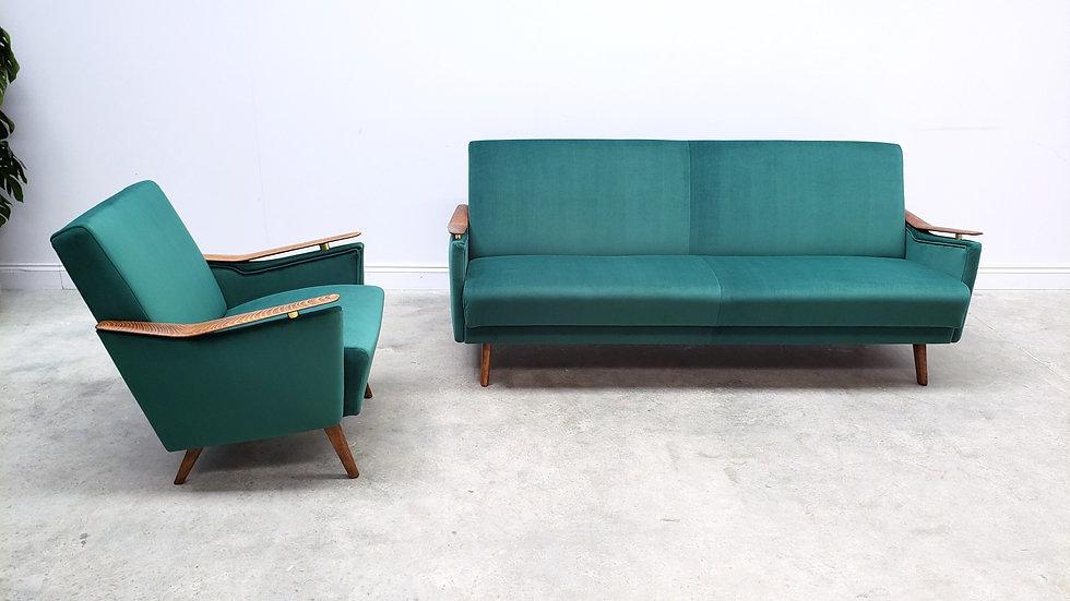 1960 Mid Century Danish Living Room Set in Green Velvet