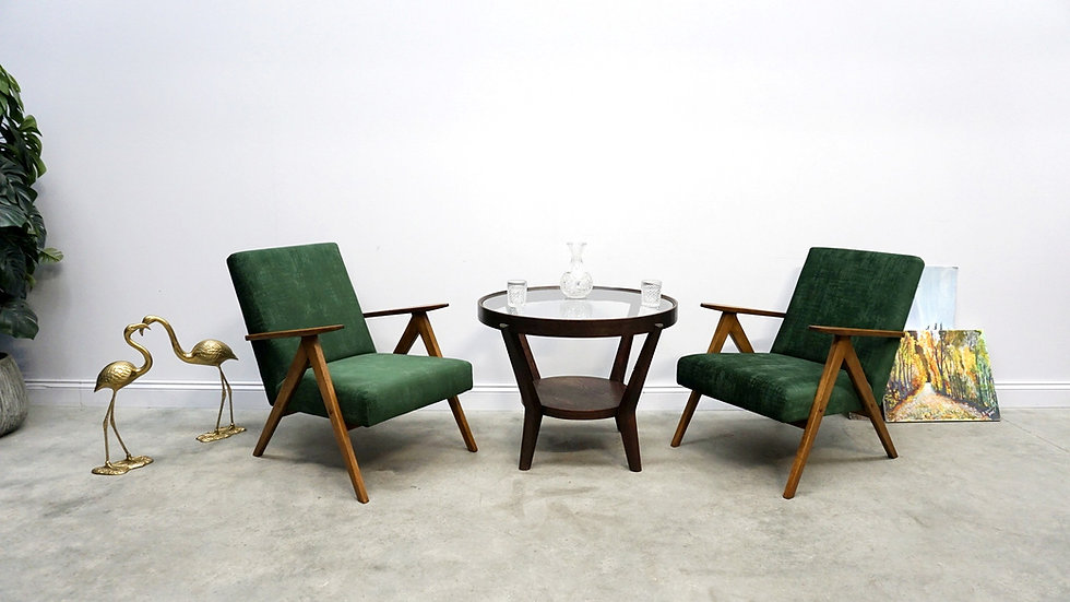 Model B 310 Var Mid Century Easy Chairs, in Dark Green Velvet, 1960, 1 of 2