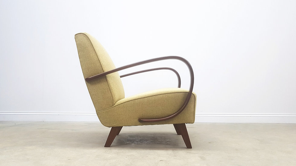 1930 Jindrich Halabala Bentwood Armchair for Thonet in Olive Green Tweed