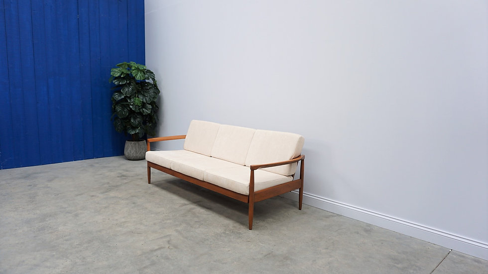 1960 Mid Century Three Seat Danish Sofa in White Cream
