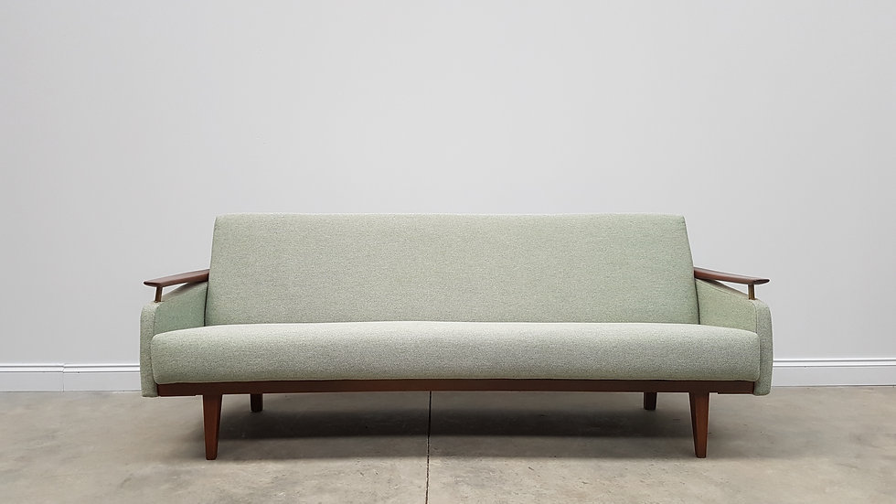 Mid Century Danish 3 Seat Sofa Bed from the 60's, in Light Green Tweed