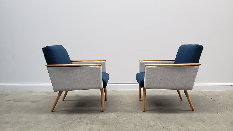 1960 Mid Century Danish Club Chairs in Blue and Grey, 1 of 2
