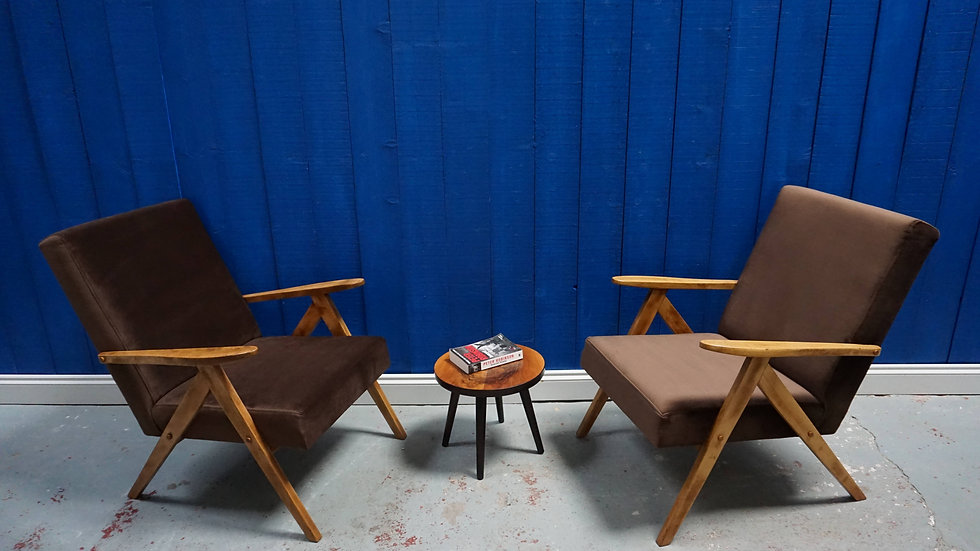 Mid Century Modern Easy Chairs from 1960's in Brown Velvet, 1 of 2