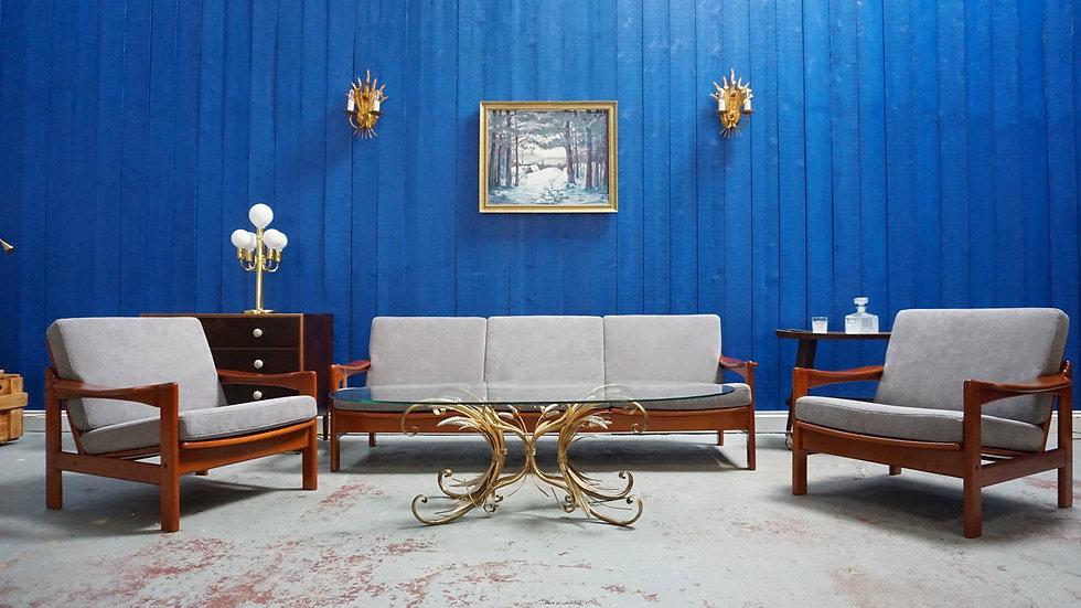Mid Century Modern Danish Living Room Set, 3 + 1 + 1 Sofa and Armchairs