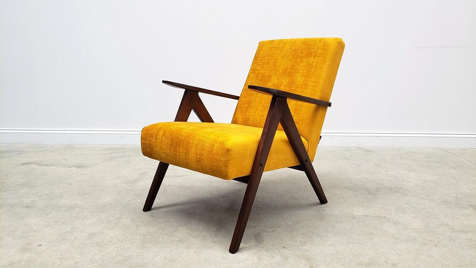 1960 Model B 310 Var Mid Century Easy Chairs in Luxury Golden Velvet