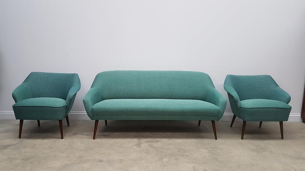 3 + 1 + 1 Mid Century, 1960 Danish Living Room Set, Sofa + Armchairs