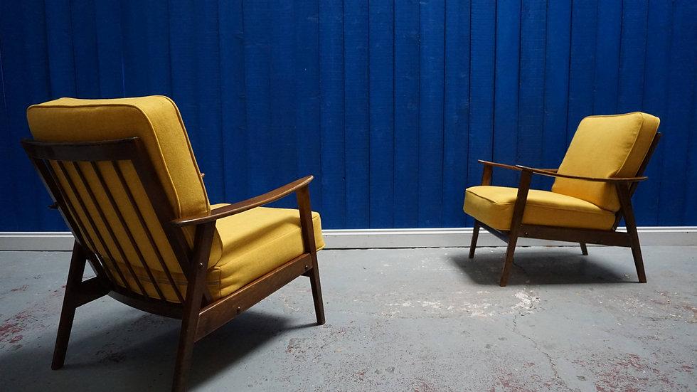 Mid Century Danish Loungers in Yellow, 1960's, 1 of 2