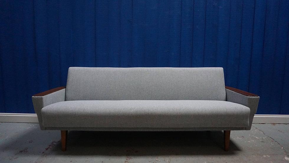 Mid Century 3 Seater Danish Sofa / Day Bed in Grey Tweed, 1960's