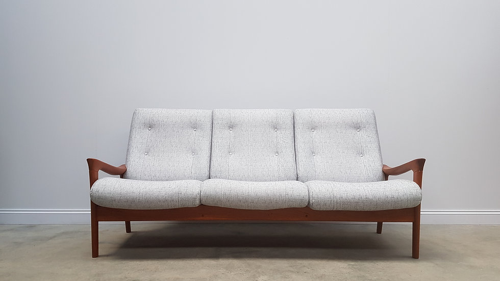 Mid Century Danish Teak 3 Seat High Back Sofa By Vamdrup Stolefabrik, 1960