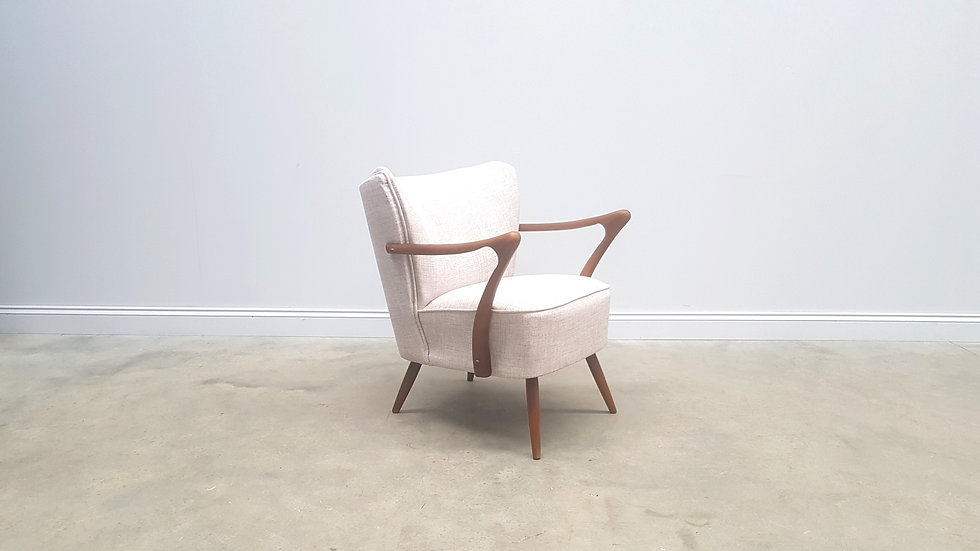 Mid Century Cocktail Club Chair in Light Creme, 1960