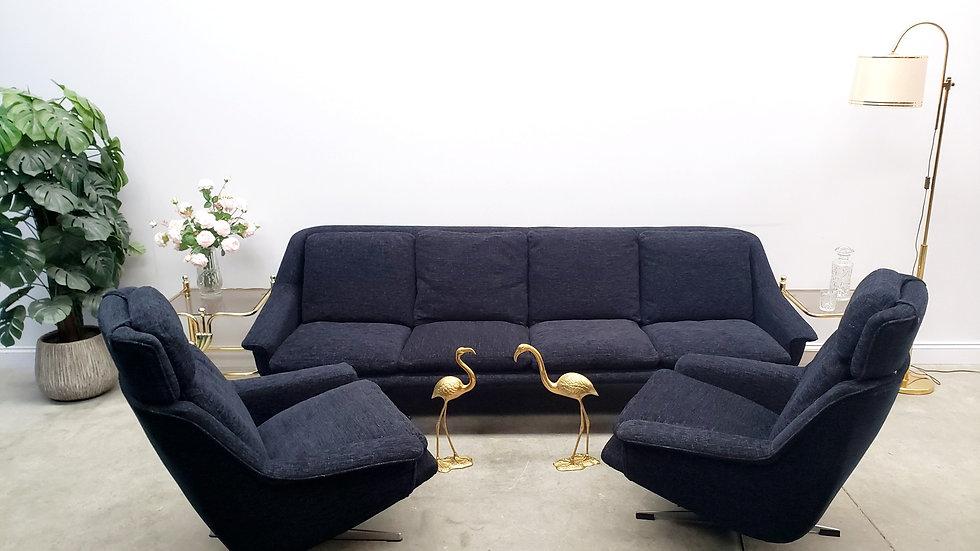 1960 Danish Living Room Set by Werner Langenfeld for ESA in Black Velvet.