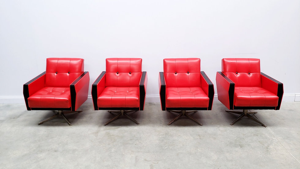1960 Vintage Swivel Armchairs in Red and Black Leather and Chrome