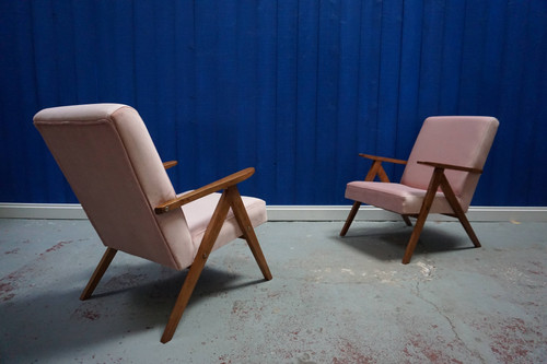 a5e6ab72d38a ... Mid Century Modern Easy Chairs from 1960 s in Champagne Pink Velvet