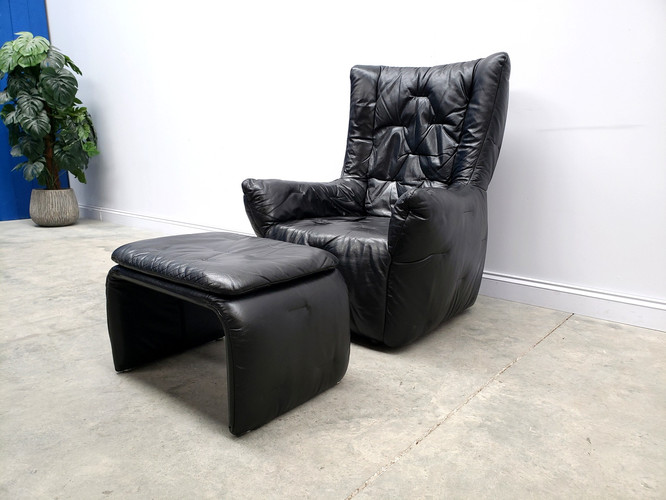 1980 Large High Back Lounger with Ottoman, in Black Leather