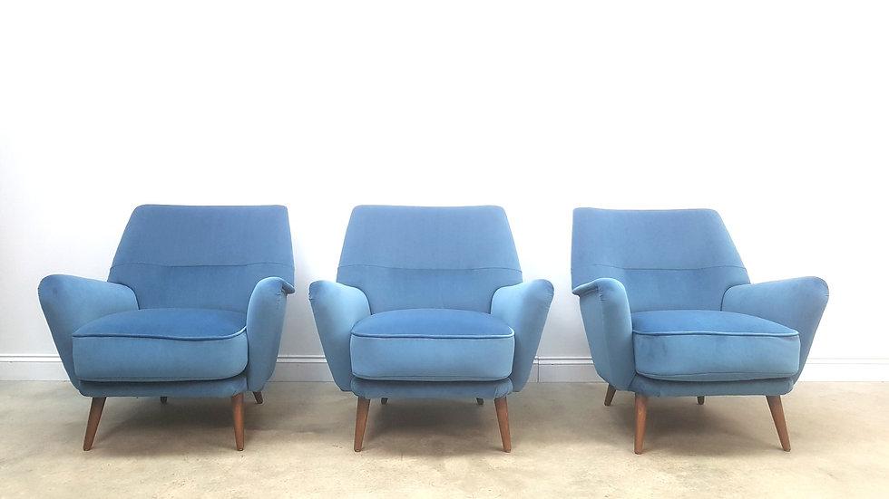 Mid Century Danish Armchairs in Blue Luxury Velvet, 1950