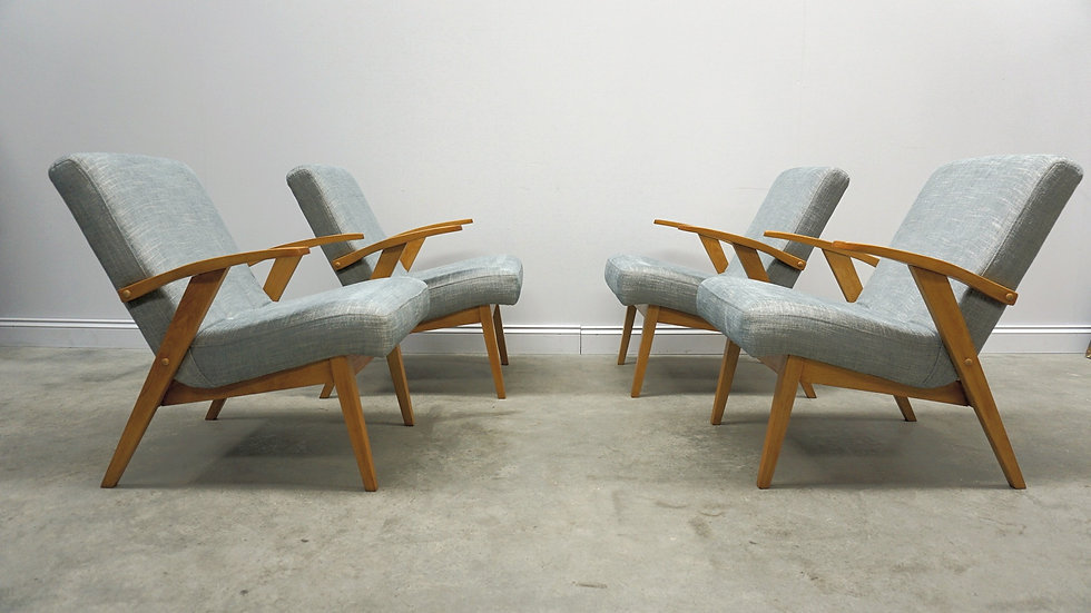 Mid Century Easy Chairs in Light Blue Upholstery, 1 of 4