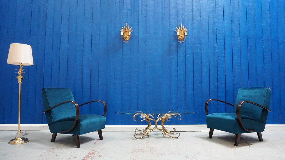 Jindrich Halabala Bentwood Chairs in Green Luxury Velvet, Thonet 1930, Set of 2