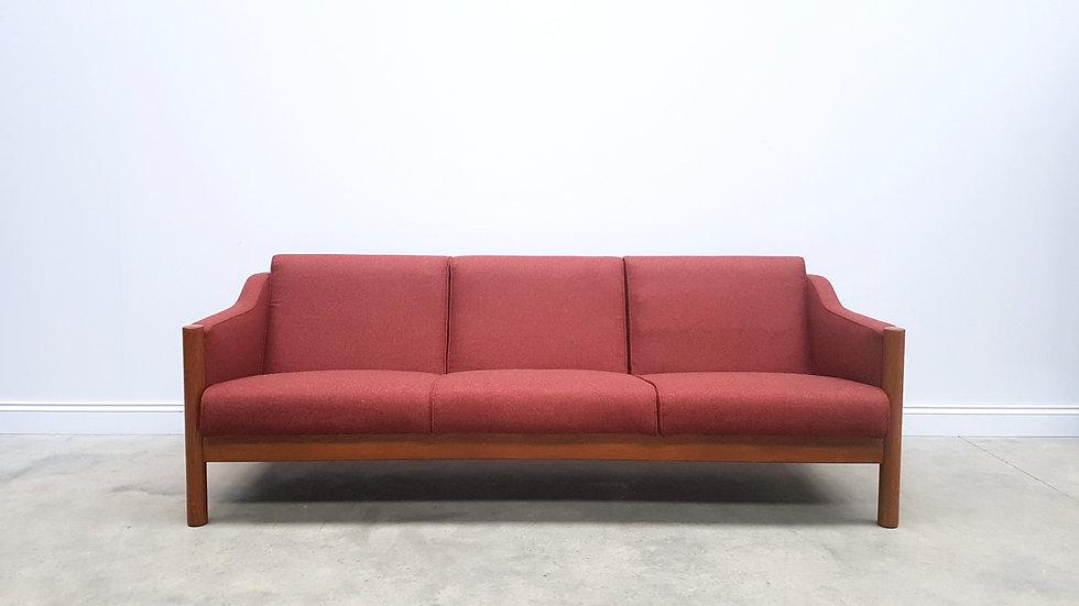 Three Seat Mid Century Danish Sofa in Burgundy Wool, 1960
