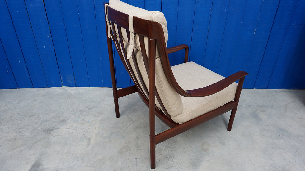 Swedish High Back Lounger from 1960 Vintage Sweden Teak Bentwood