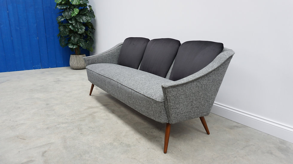 Mid Century Curved French Sofa Love Seat from 1950's