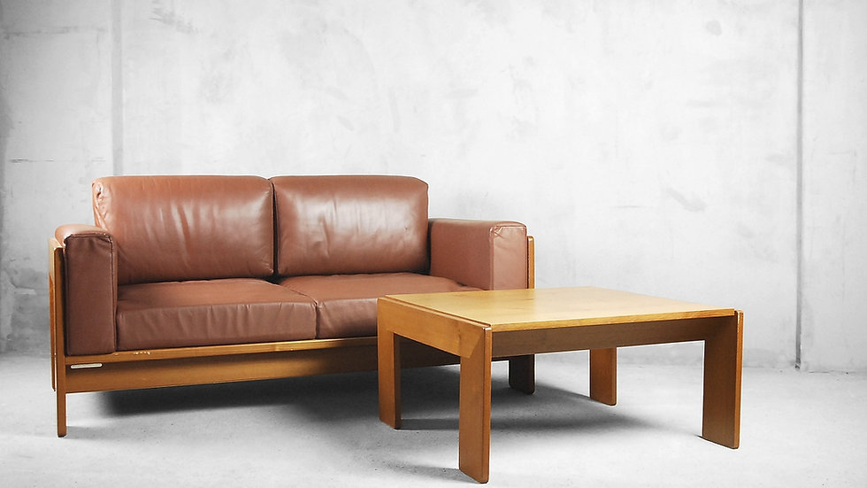 Bastiano Leather Sofa & Coffee Table by Tobia & Afra Scarpa for Knoll, 1960s