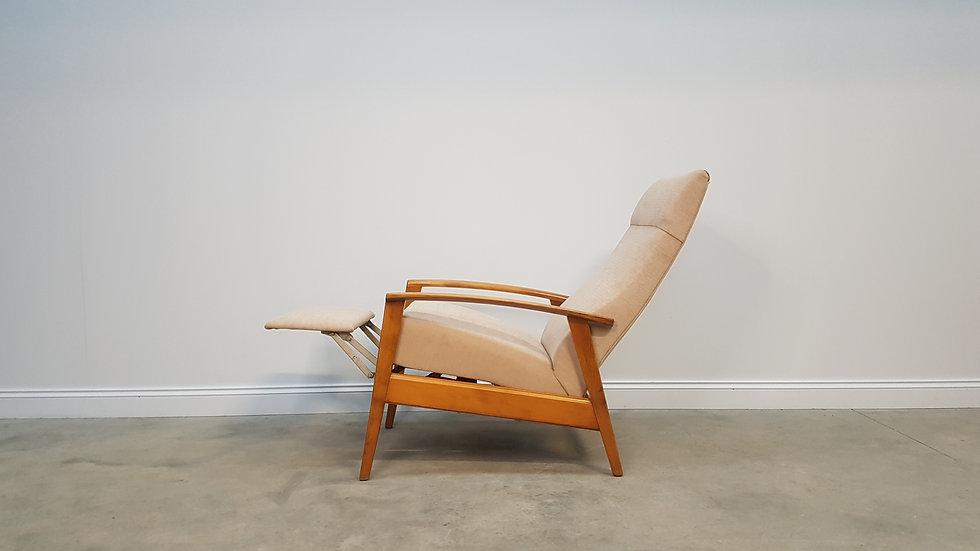 1960's Mid Century Danish Recliner Armchair in Beige upholstery.