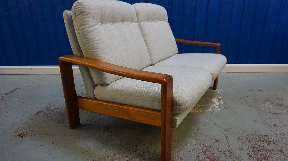 Mid Century Danish Teak 2 Seat Sofa in Grey Tweed, 1970's