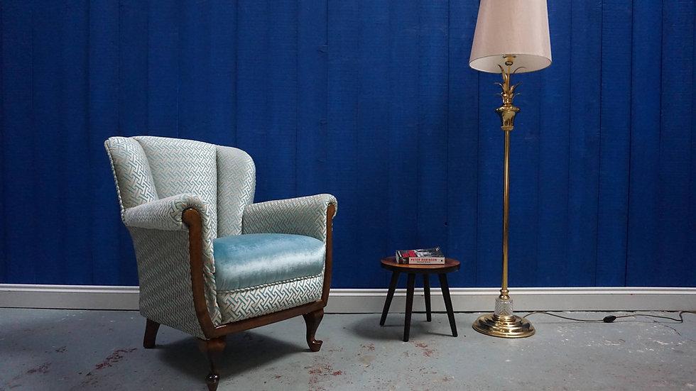 Mid Century Lounger in Blue Velvet, 1950's
