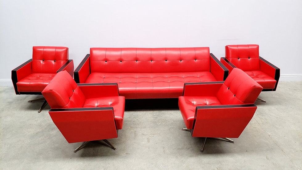 1960 Vintage Living Room Set in Red and Black Leather and Chrome