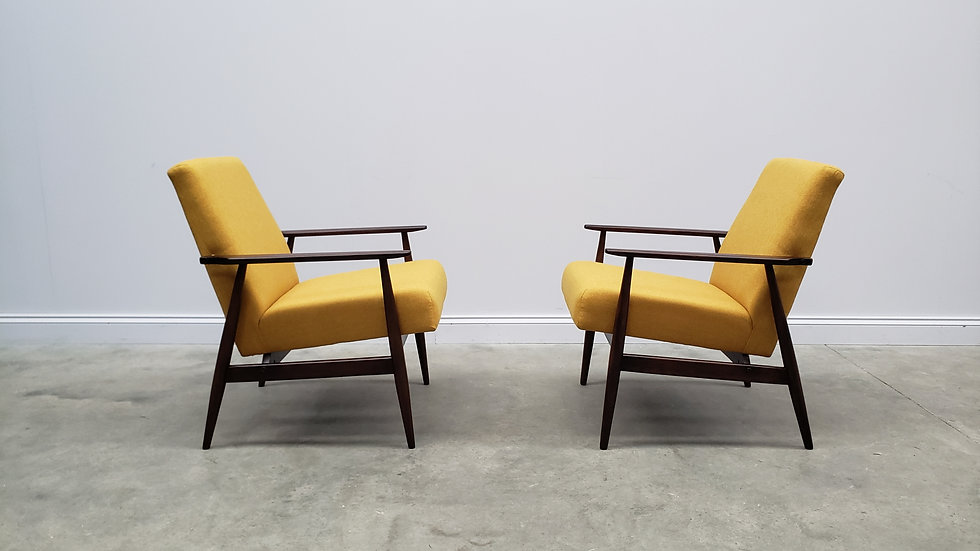 1960 Henryk Lis Mid Century Armchairs in Yellow from 1960, 1 of 2