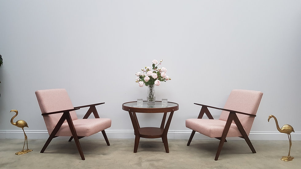 Pair of Mid Century Easy Chairs Model B - 310 Var in Light Pink Tweed, 1960
