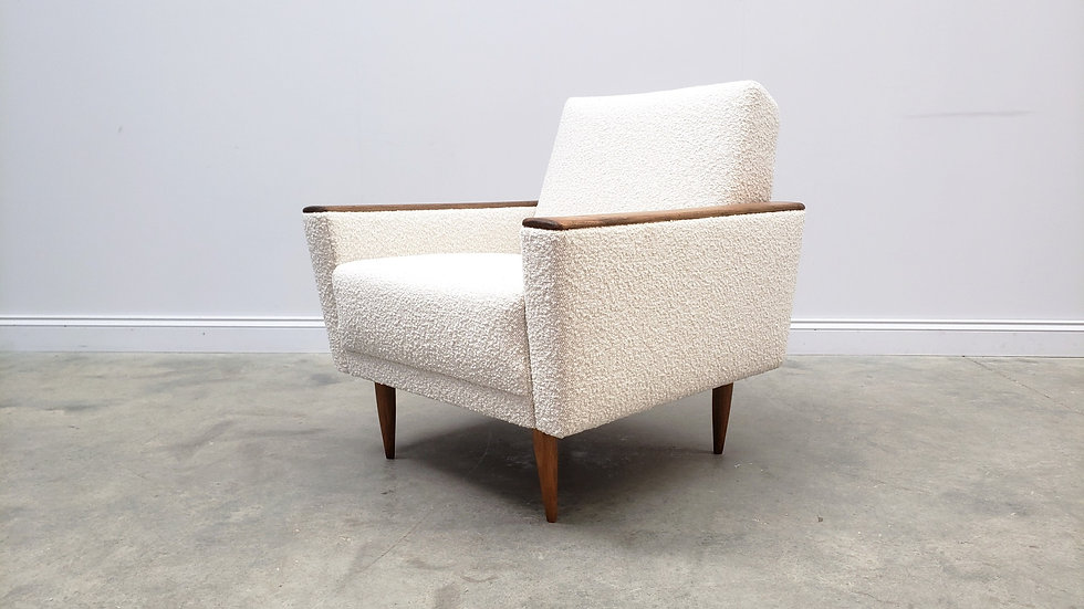 1960 Danish Lounger Club Chair in Pearl Boucle Upholstery