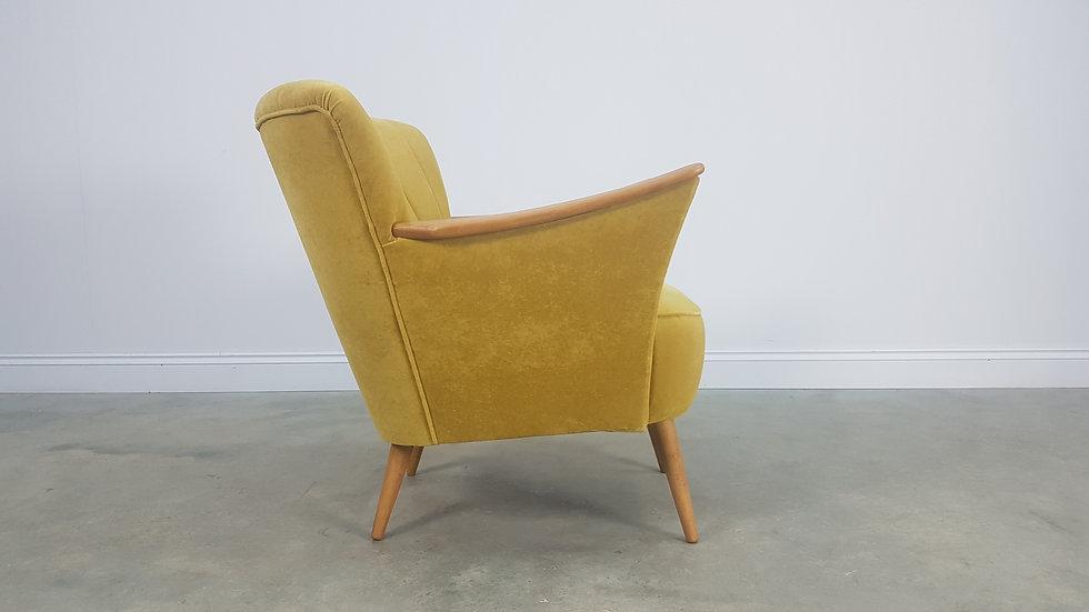 Mid Century Cocktail, Club Chair, in Goldenrod Velvet, 1960