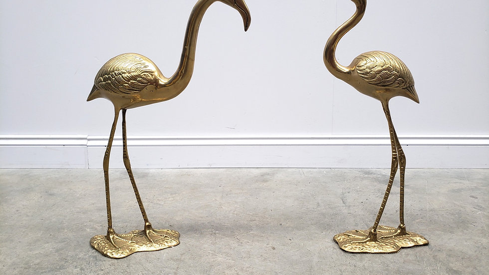 Beautiful Pair of Brass Flamingo Sculptures by Gilde Nadwerk, 1960s