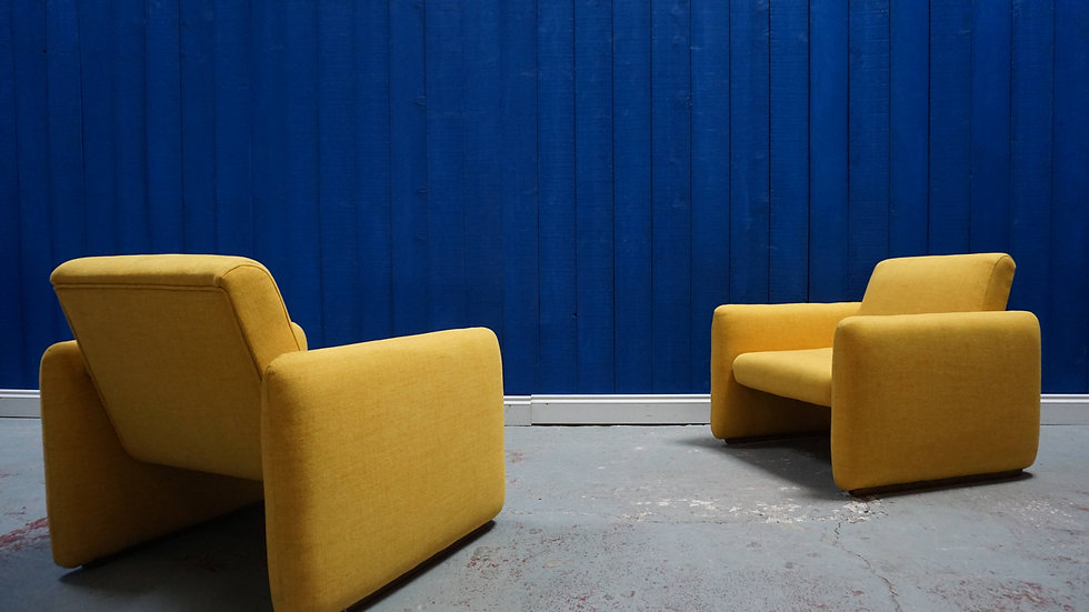 Mid Century Modernist Chairs from 1960's in Yellow, Set of 2