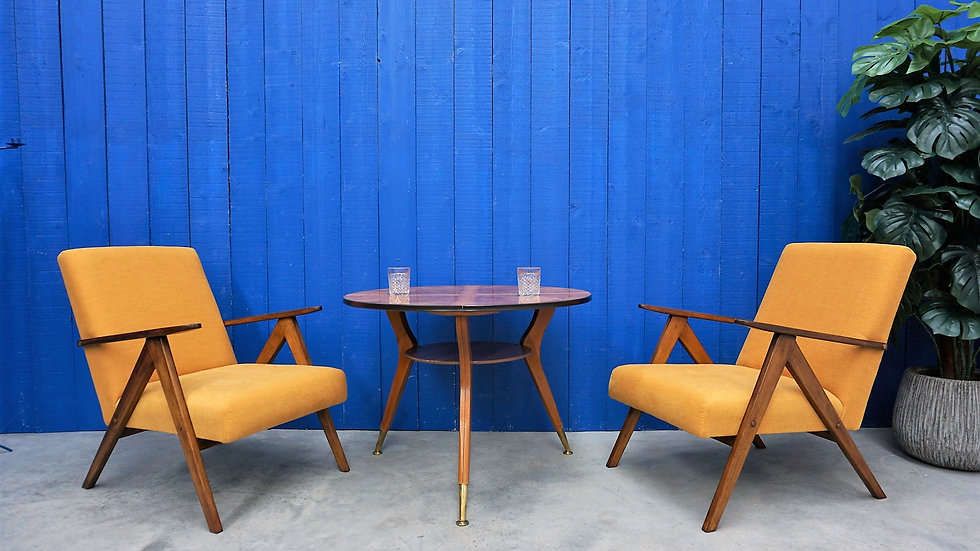 Model B 310 Var Mid Century Easy Chairs, in Yellow, 1960, Set of 2